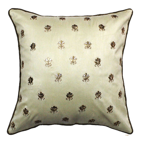Gota Patti cushion cover - Off white - Small all over booti cushion cover - 16x16 inches - Dupioni silk