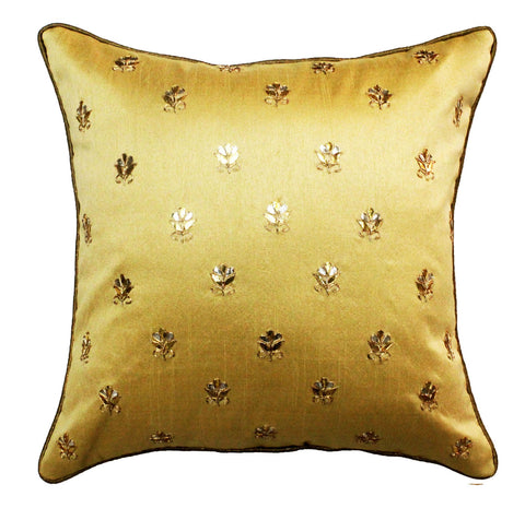 Gota Patti cushion cover - Beige - Small all over booti cushion cover - 16x16 inches - Dupioni silk