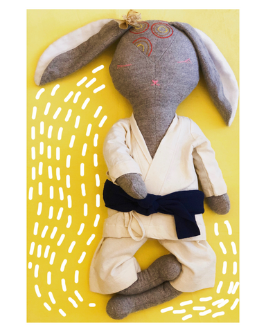 Rae the Rabbit - Fabric doll by Pookies - Handmade stuffed toy