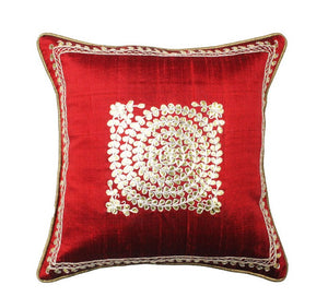 Pure silk gota Patti with zardozi work cushion cover - Red - circular embroidery cushion cover - 12x12 inches - Pure silk