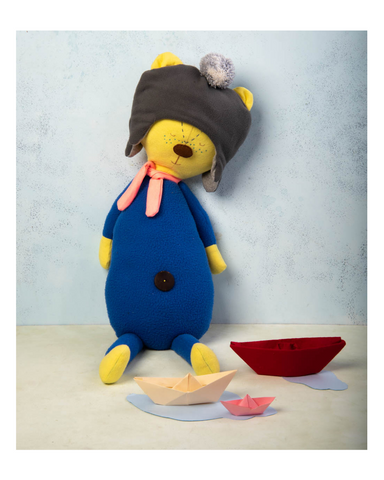 Bo the bear - Fabric doll by Pookies - Handmade stuffed toy