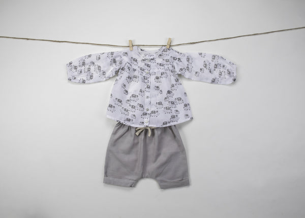 Baby girl dresses - Elephant Print Top & Harem Pant