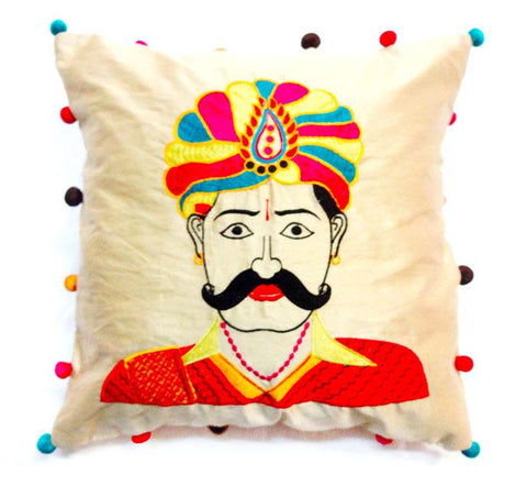 Applique embroidery cushion cover - Turban man - Turban man embroidered cushion cover - Festive cushion cover - 16x16 inches - Dupioni silk