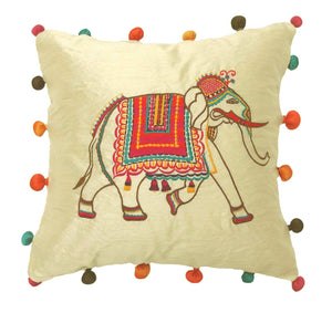 Applique embroidery cushion cover - Elephant - Elephant embroidered cushion cover - Festive cushion cover - 16x16 inches - Dupioni silk