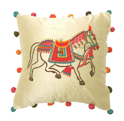 Applique embroidery cushion cover - Horse - Horse embroidered cushion cover - Festive cushion cover - Dupioni silk