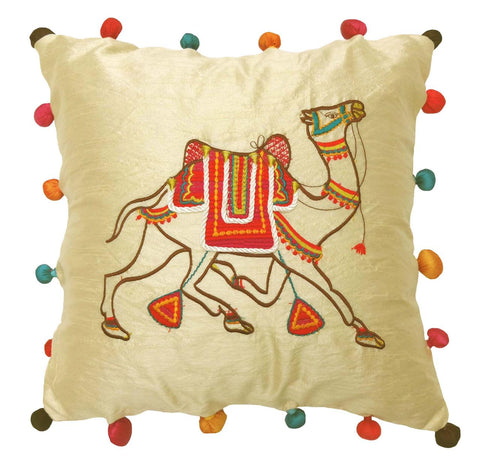 Applique embroidery cushion cover - Camel- Camel embroidered cushion cover - Festive cushion cover - 16x16 inches - Dupioni silk