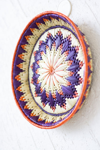 Colourful decorative wall basket - Moonj grass basket - Wall basket for decor - Handwoven grass basket