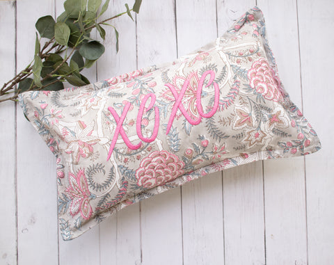Lumbar pillow -  XOXO Word Pillow - Embroidery on Block print fabric - 12x20