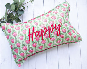 Lumbar cushion - Happy Word Pillow - Embroidery on Block print fabric - 12x20
