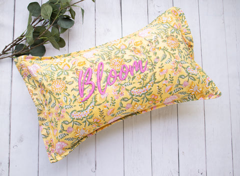 Lumbar pillow - Good Vibes Block print Word Pillow - Embroidery on Block print fabric - 12x20 - Yellow