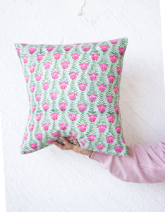 Block print decorative cushion covers - 16x16 inches - Green and pink floral