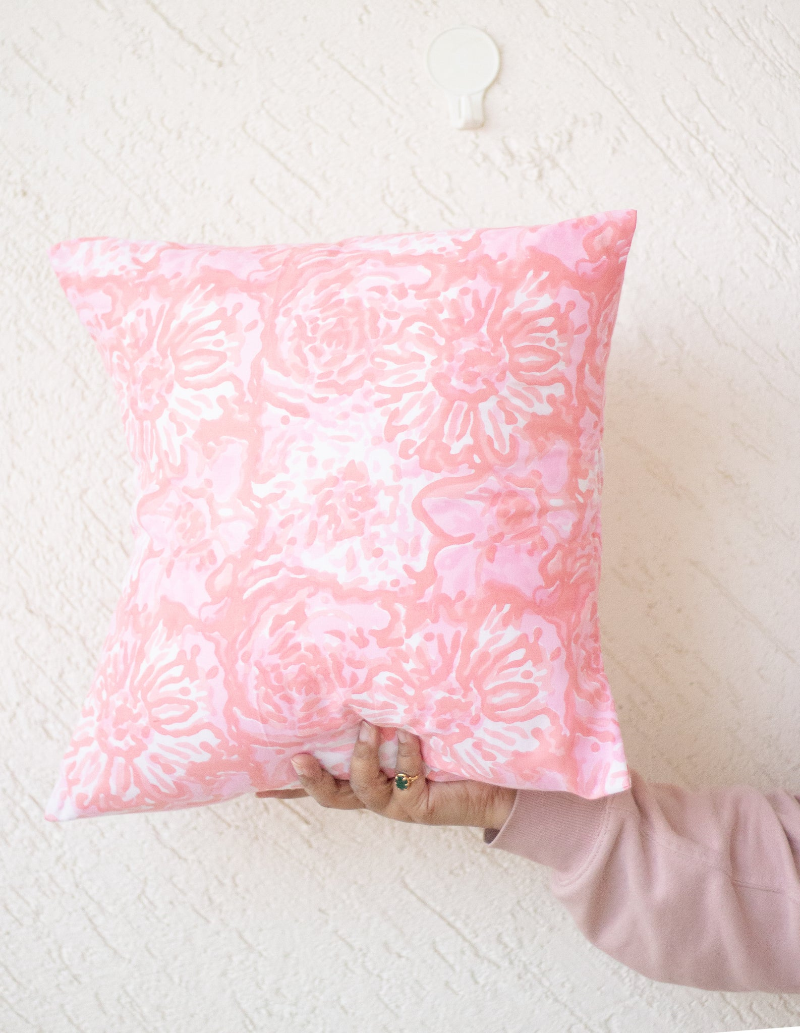 Block print decorative cushion covers - 16x16 inches - Pink and peach floral