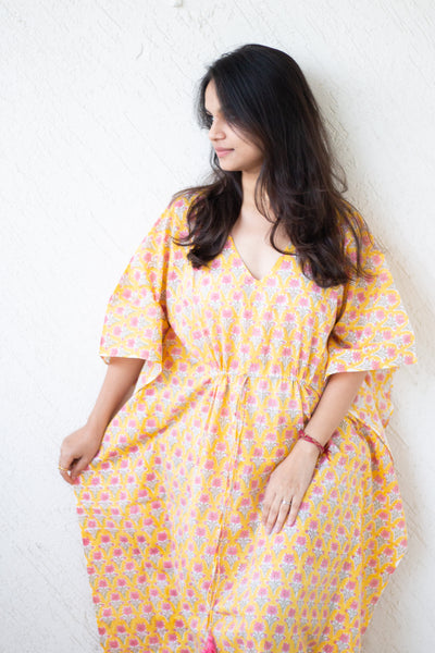 Full length Kaftans for women - Loungewear - long Kaftans with drawstring - yellow floral print