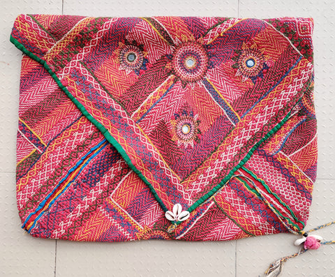 Large Kutch embroidered envelope bag - Embroidered vintage bag