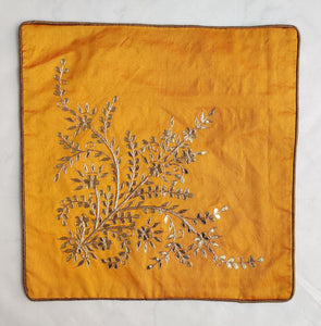 Gota Patti cushion cover - Orange - Large floral corner boota cushion cover - 16x16 inches - Dupioni silk
