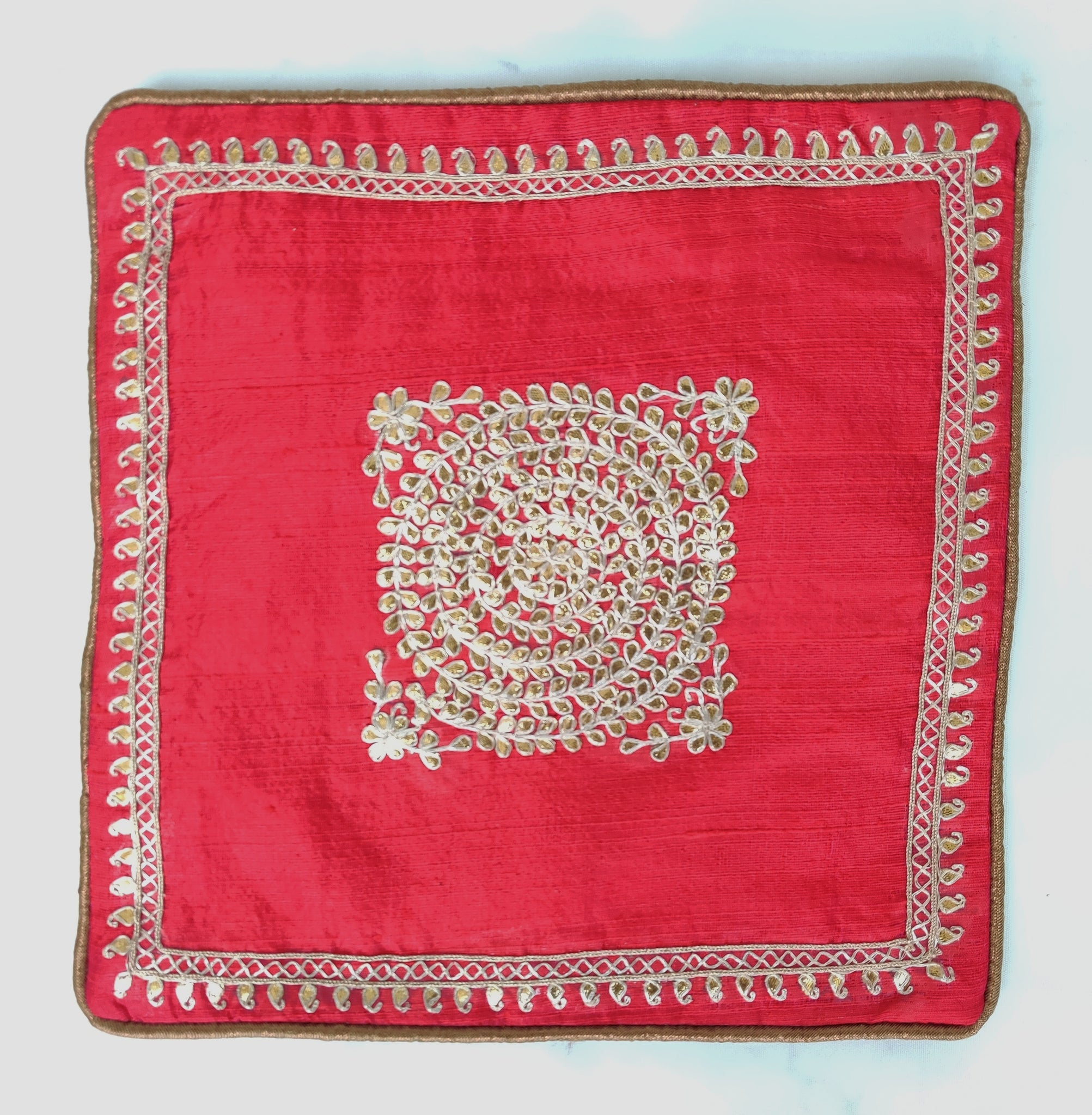 Pure silk gota Patti with zardozi work cushion cover - Rani pink - circular embroidery cushion cover - 12x12 inches - Pure silk