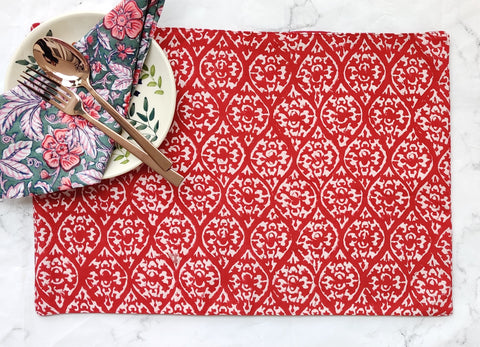 Christmas placemats - Block print fabric- Red floral fabric placemats - set of 4 - 13x19 inches