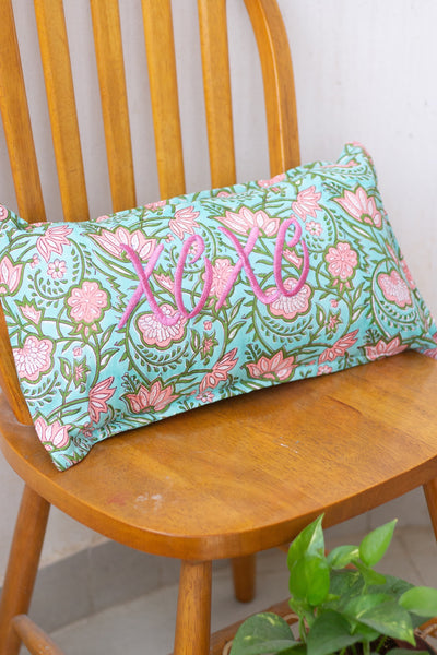 XOXO Word Pillow - Embroidery on Block print fabric - 10x18