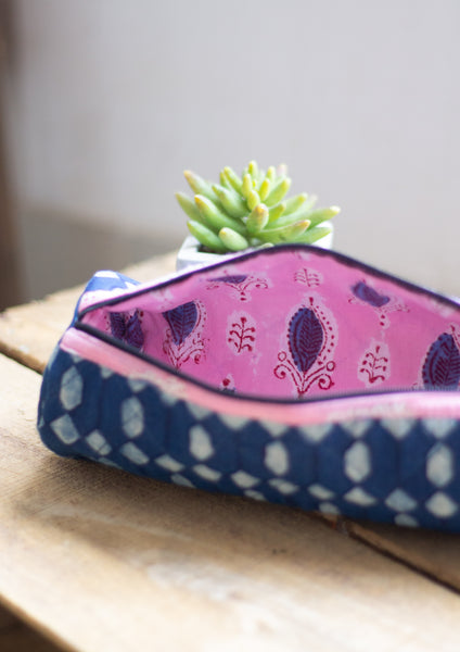 Block print bag- pencil pouch- cosmetic pouch- Indigo print tube pouch