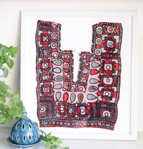 Maroon large framed wall art - Banjara embroidered patch - Wall hanging - Boho decor - Vintage Textile