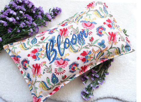 Bloom Block print Word Pillow - Embroidery on Block print fabric - 12x18