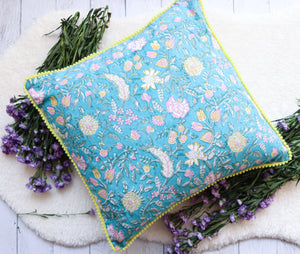 Teal green decorative cushions - Block print cushion cover with trim - 16x16 inches