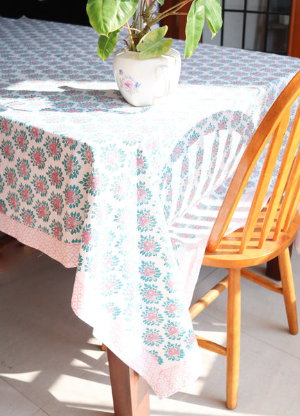 Block print table cloth - Pink shabby chic table cover - Oversized tablecloth - 6-8 seater tablecloth - 60x90 inches
