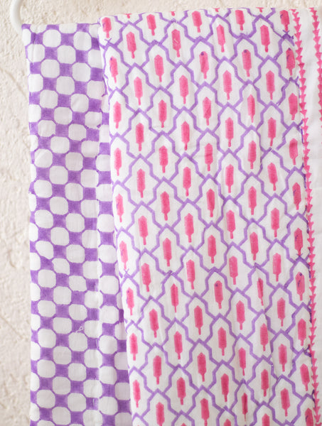Geometric baby quilt -  Purple and Pink quilt - Baby size - 36x48 inches