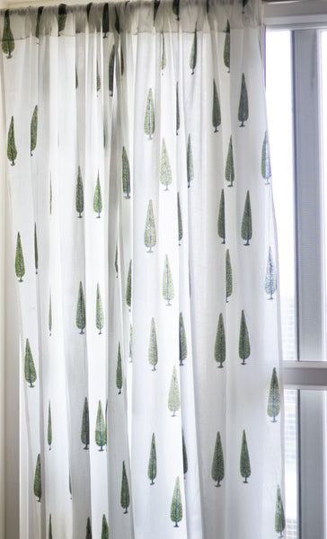 Block print curtains - Cypress trees - pack of 1