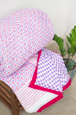Ikat inspired Block print queen quilt - pink and purple - Queen - 90x108 inches