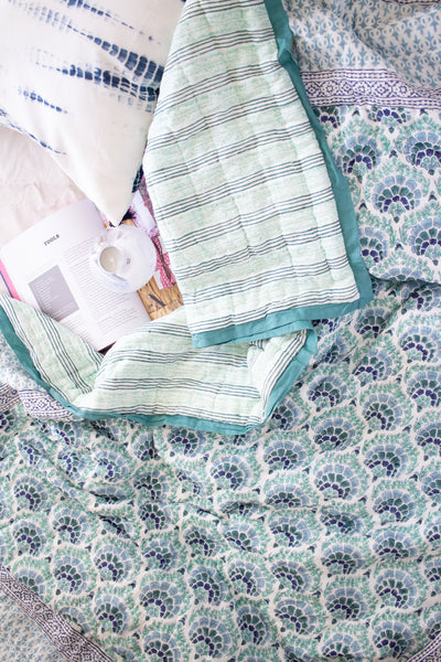 Andaman quilt - Blue, green and turquoise - Single bed quilt - 60x90 inches