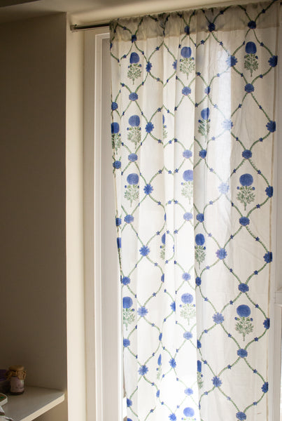 Block print curtains - Blue marigold trellis garden - sheer curtains - pack of 1