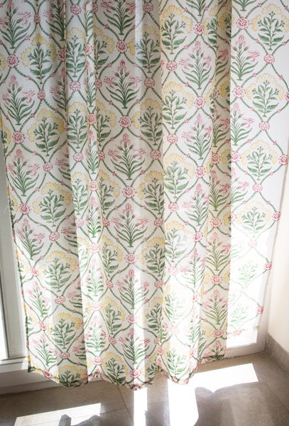 Block print curtains - trellis garden - sheer curtains - pack of 1