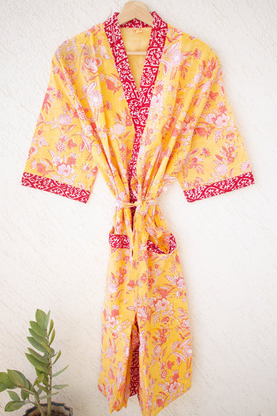 Cotton robes for women - Block print robes - beach cover up - yellow