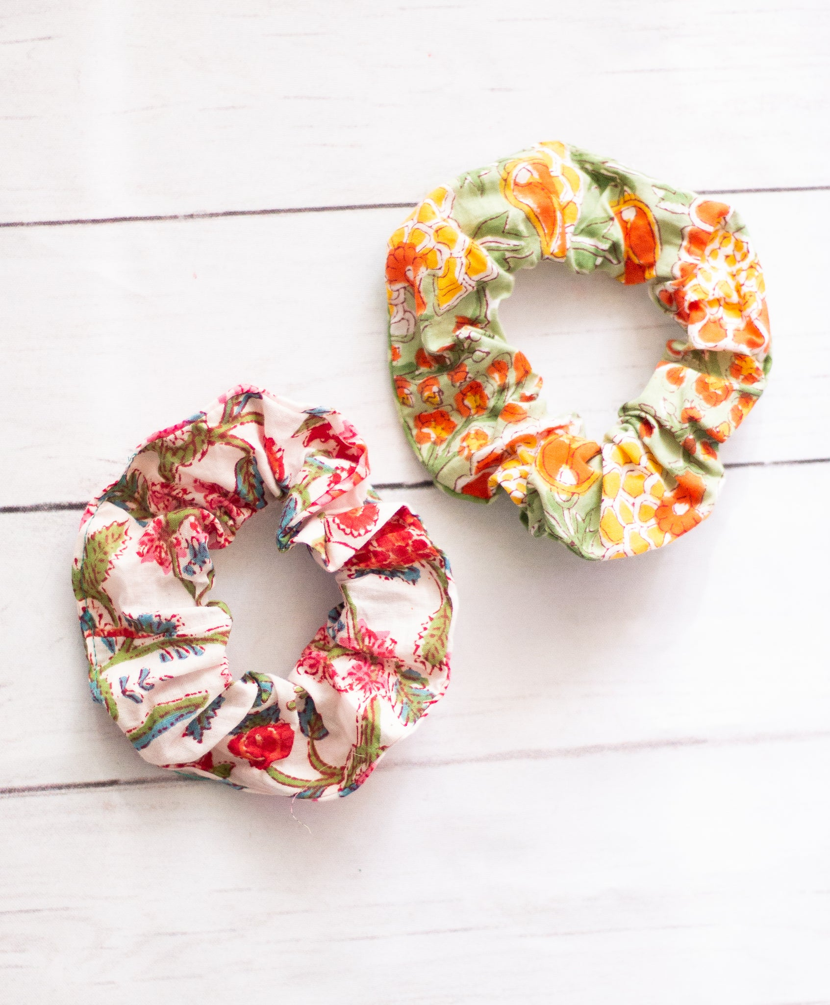 Block print scrunchies - Hair ties- Set of two - Scrunchy - elastic Hairband