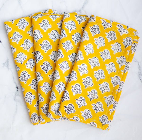 Yellow Christmas napkins - Light weight dinner napkins cloth- Block print fabric- Cloth napkins bulk - set of 4 napkins