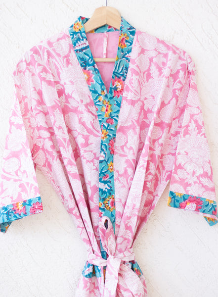 Cotton robes for women - Block print robes - beach cover up - Pink