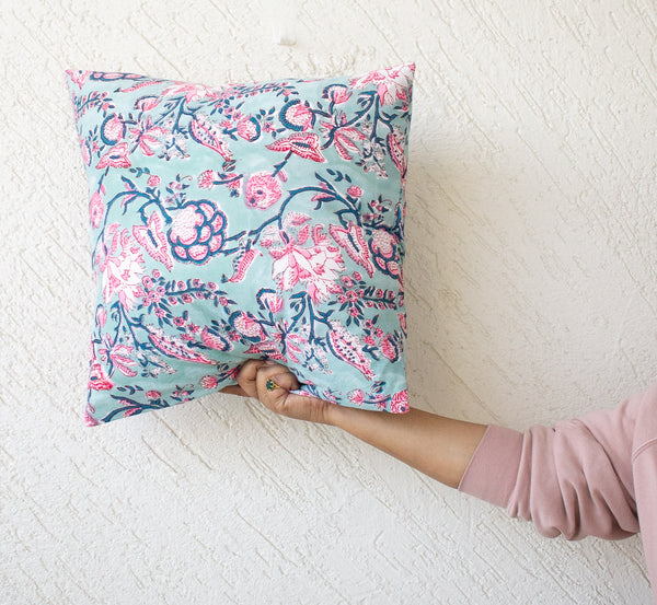 Block print decorative cushion covers - 16x16 inches - Turquoise floral cushion cover