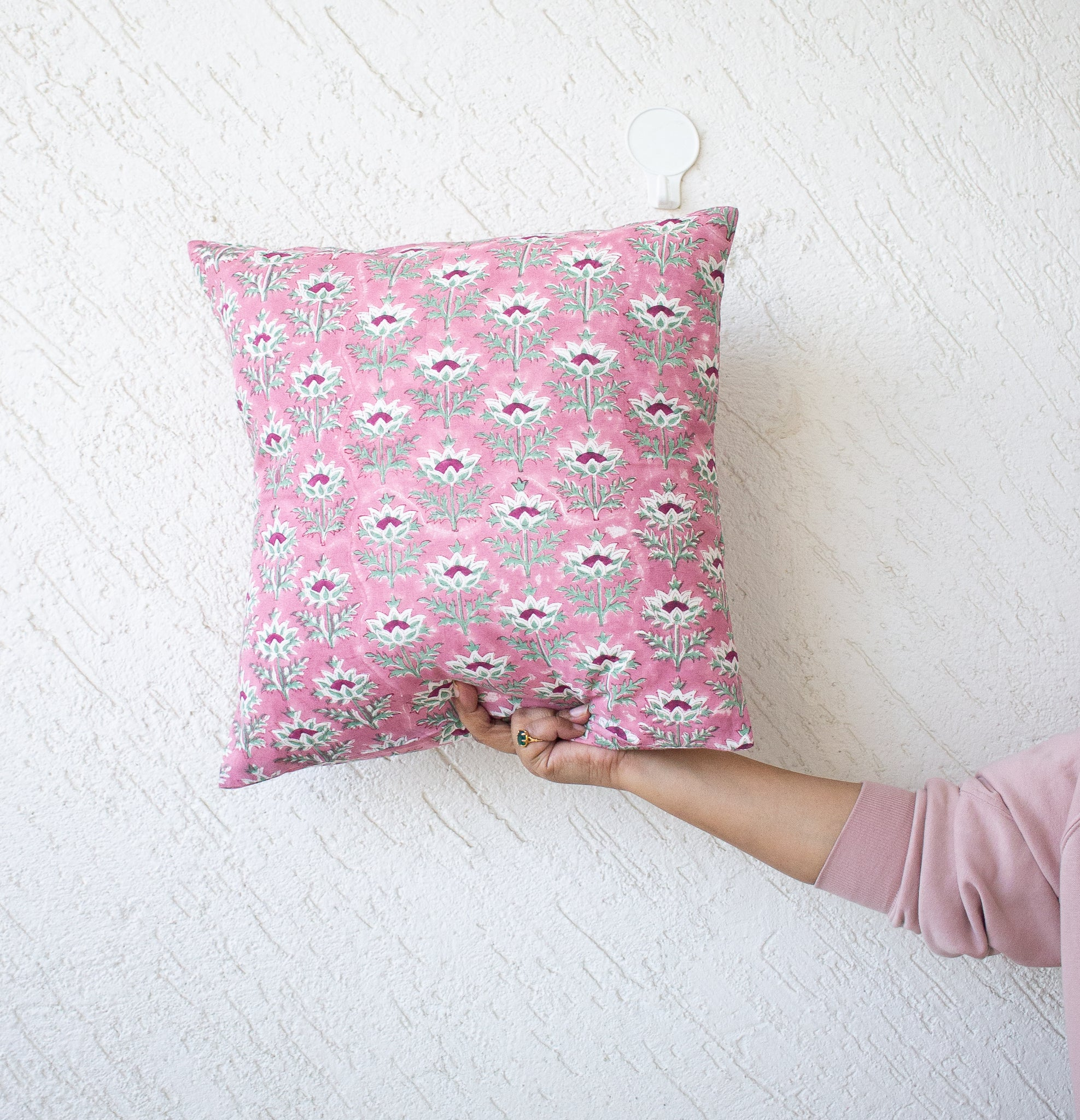 Block print decorative cushion covers - 16x16 inches - Pink floral cushion cover