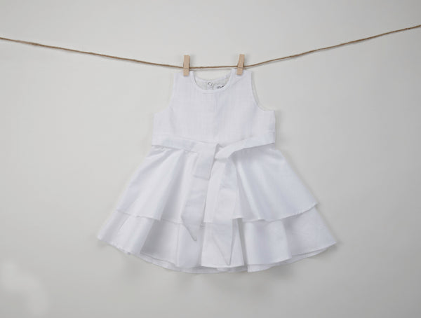 Baby girl dresses - White Linen Umbrella Frock