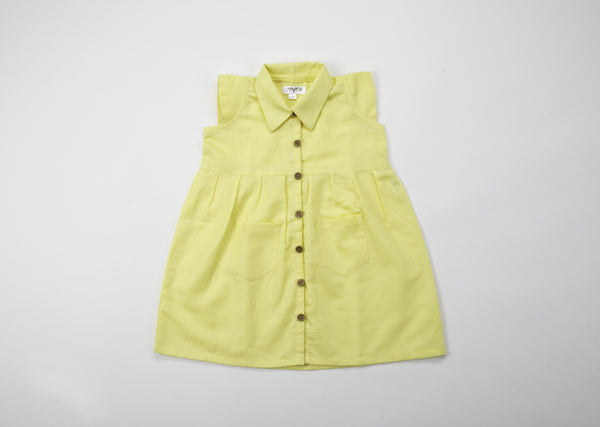 Baby girl dresses - Yellow Linen A Line Frock with Pockets