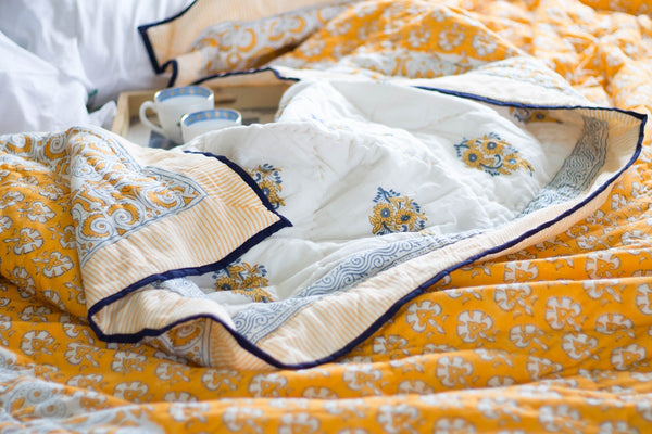 Block print quilt - Marigold Quilt - Single - 60x90 inches - Available on Pre order