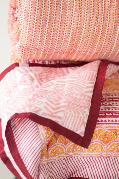 Block print queen quilt - October quilt - Red, orange and pink - 90x108 inches