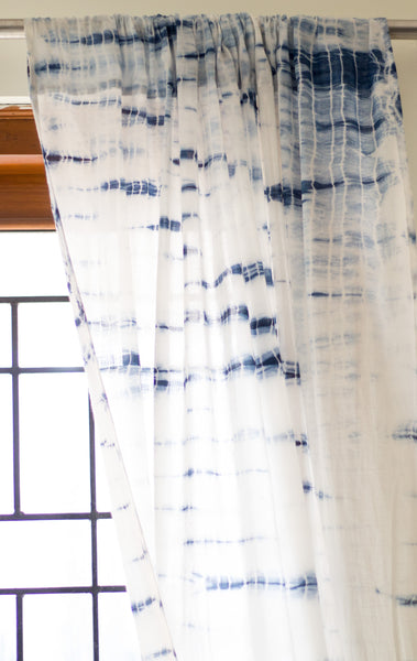 Shibori Sheer curtains - Natural Indigo - Pack of 1