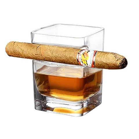 Bar Wine Whiskey Glass With Cigar Holder - CandM Online Store