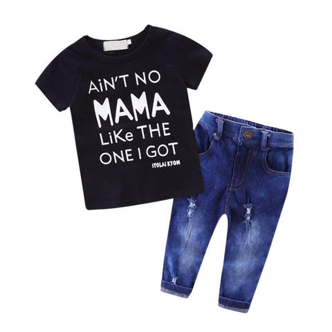 "T-Shirt Denim ""Aint No Mama Like I Got"" Pants Set - CandM Online Store"