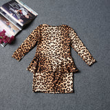 Leopard Long-sleeve Girl Dress 2pcs