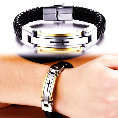 Stainless Steel Vintage Leather Cross Bracelet