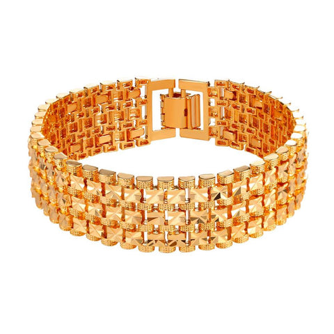 Perfect Chunky Gold Bangle Chain Bracelet Jewelry - CandM Online Store