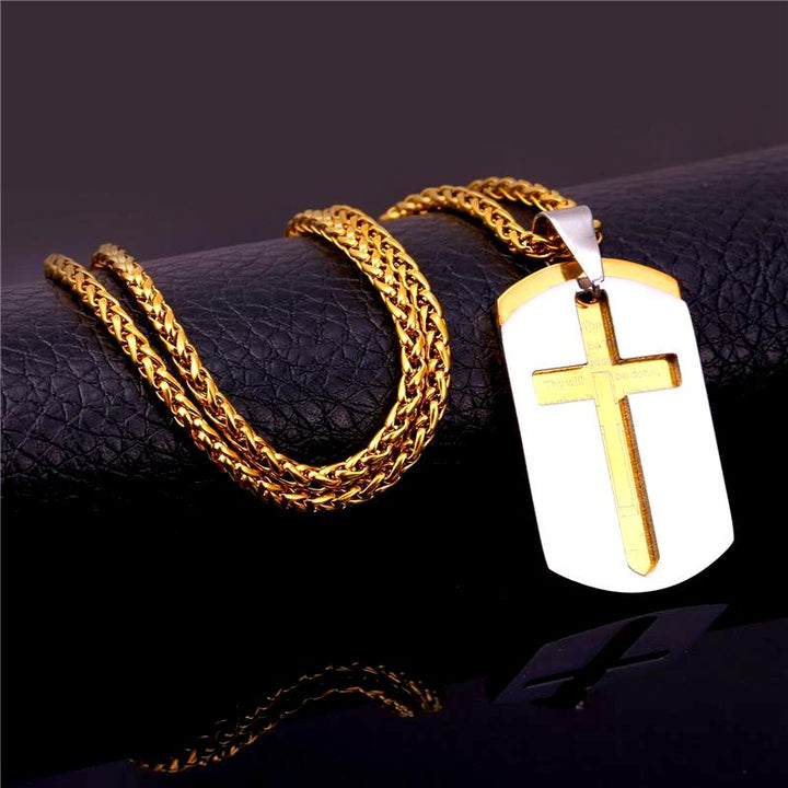 Dog Tag Cross Pendant